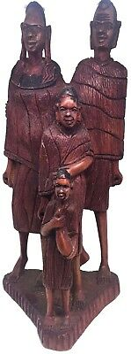 African Family of Four Hand-Carved Dark Wood Statue Antique Authentic - ~12.5in.
