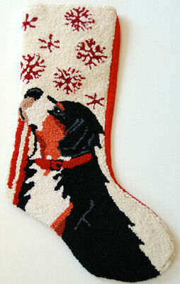 "Bernese Mountain Dog Snowflake Leash Hooked Wool  Christmas Stocking - 13"" x 21"""