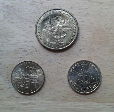 French Millenium Coin Medallions,St Malo, Paris and Omaha Beach.