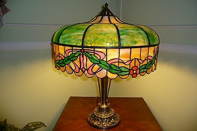 "Beautiful Large Antique Leaded Stained Glass Lamp 3 Lights 24"" Tall, 20"" shade"