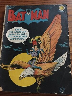 Batman #17 Jun-Jul 1943 DC Cover By Bob Kane