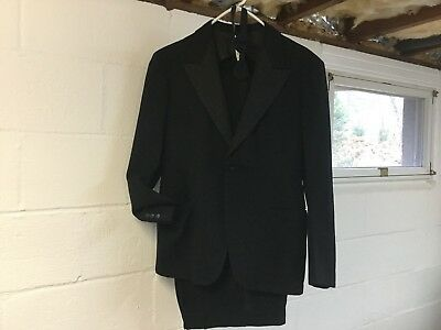 Vintage 1940's (30's?) 2 Piece Men's Wool Tuxedo W/Adjustable Bowtie - Excellent