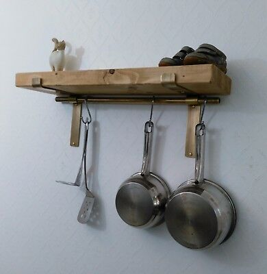 kitchen shelves solid wood pan hanger Shelf complete with brass pan hanging rod