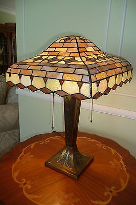 Gorgeous Antique Leaded Stained Glass Lamp---Unique -All Original Except Cord