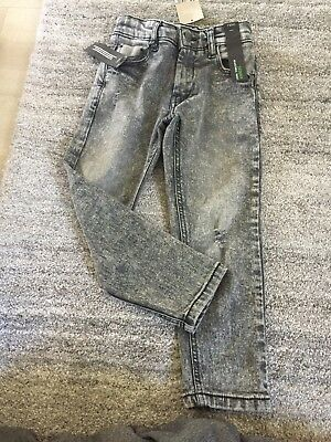 BNWT Boys Age 5 Years Skinny Jeans From Next - Grey Distressed