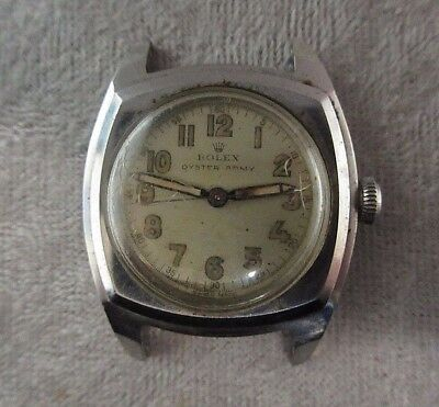 Rare Vintage Antique 1940s Stainless Steel Rolex Military 3139 Oyster Army Watch