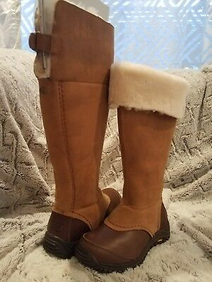 61d34889632 UGG AUSTRALIA TALL MIKO Chestnut WATERPROOF LEATHER SHEEPSKIN BOOTS 1013479