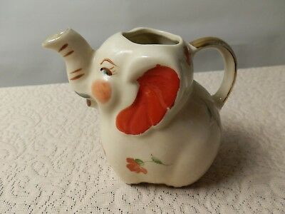 """Vintage SHAWNEE Elephant small Pitcher_CREAM_4.5"""" HIGH NICE_So Cute_Patented USA"""