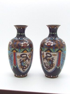 Matching Pair of Antique Japanese Cloisonne Vases