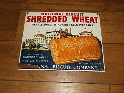 Ande Rooney NATIONAL BISCUIT SHREDDED WHEAT Porcelain Enamel Advertising Sign
