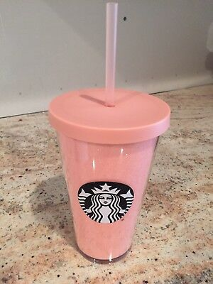 Starbucks Pink Glitter Rose Gold Cold Cup 16 oz 2017 Winter Holiday Tumbler