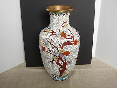 Cloisonne Enamel Vase Blossoms on a Tree Branch Design Tall Vase 10 Inches