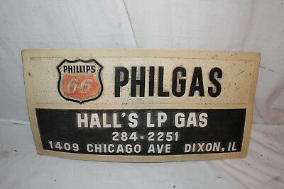"""Vintage 1960's Phillips 66 Philgas Gas Station Oil Truck 24"""" Embossed Sign"""