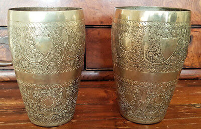 Pair of Antique Indian Engraved Brass Beakers Lassi Cups