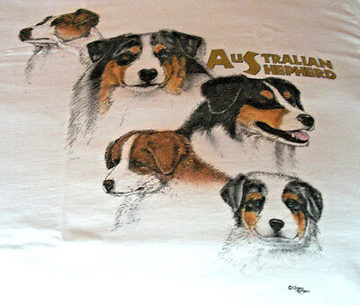 "Australian Shepherd T-shirt  "" White "" Small ( 34 ~ 36 )"