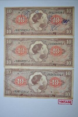 LOT of 3 - 1965 USA $10 Military Payment Certificates MPC Series 641