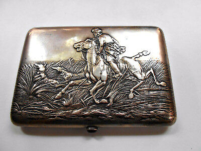 HALLMARKED EARLY 1900s RUSSIAN SILVER CIGARETTE CASE HUNT SCENE BORZOI WOLFHOUND