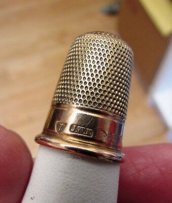 9 ct Gold No7 Thimble Hallmarked Chester 1926-27 -Maker JWK - Good Condition