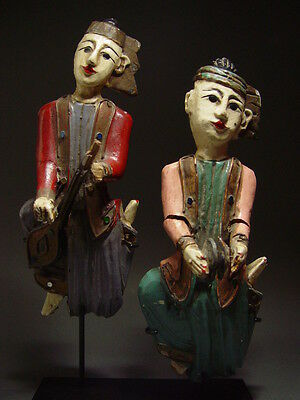 ANTIQUE BURMESE WOOD CARVED MUSICIAN FIGURES, EARLY MANDALA PERIOD 19th C.