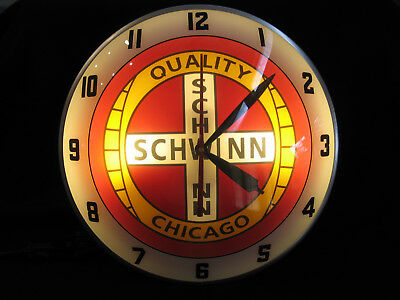 Schwinn Bicycles Reproduction Double Bubble Lighted Glass Wall Clock