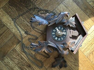 Vintage German Black Forest Cuckoo Clock with Birds for Parts/Repair