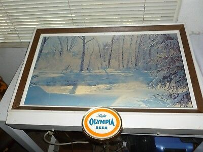 """Vintage """"LIGHT OLYMPIA"""" Lighted Beer Sign(~29ins. X ~20ins.)Working Condition."""