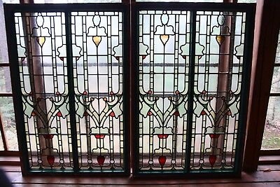 Beautiful Antique Large Arts And Crafts Stained Glass Windows