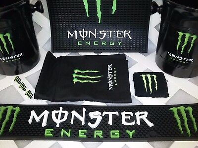 MONSTER ENERGY Bar Mat, Bucket, Apron, Wrist Band, & Pins Combo Set Free Ship