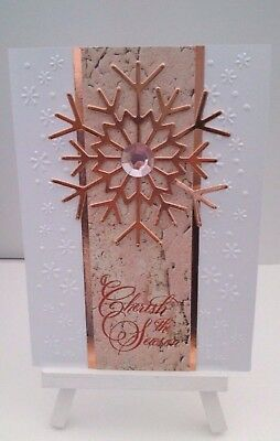 Handmade Christmas Card: Rose Gold Foil Snowfalke
