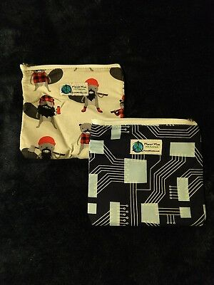 Planetwise 2 Zipper Sandwich Bags - Burly Beaver and Circuit Board