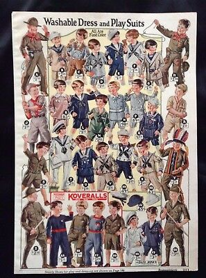 1924 Lot Montgomery Ward Pgs~Vintage Children Clothing~Play Outfits~Scout~Sailor