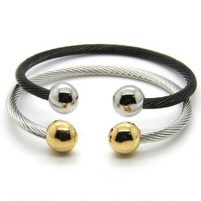 Mens Women Stainless Steel Magnetic Therapy Twist Cable Cuff 2 Magnets Bracelet