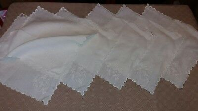 6 Beautiful White On White Embroidered Monogrammed 'r' Napkins Hankies Scalloped