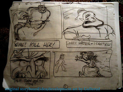 12 pages original DISNEY ALADDIN storyboard art GULLERUD development +2 GENIE NR