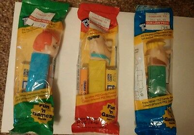 Vintage 1990's Flintstones Lot of 3 Unopened Pez Dispensers * Fred * Barney *