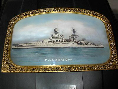 ☆ Uss Arizona Bb-39 Antique Vintage Navy Battleship Painted Photo & Frame ☆