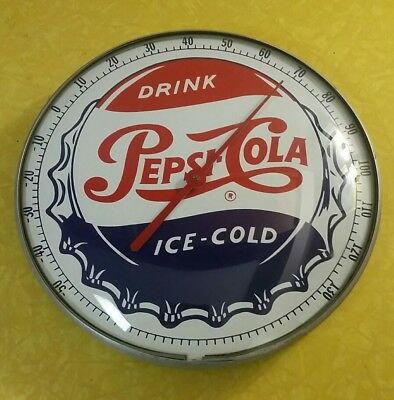 Vintage DRINK PEPSI-COLA round metal & glass advertising thermometer sign farm