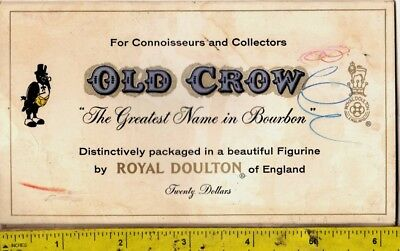 Vint 1950s Old Crow Whiskey Table Topper Advertising Card Royal Doulton Figurine