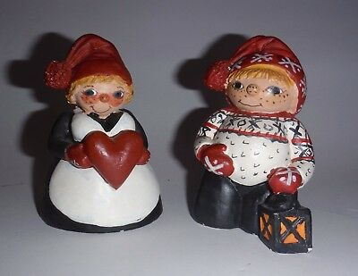 Candy Designs Norway Winter Ready Girl & Boy Figures Dressed for Snow