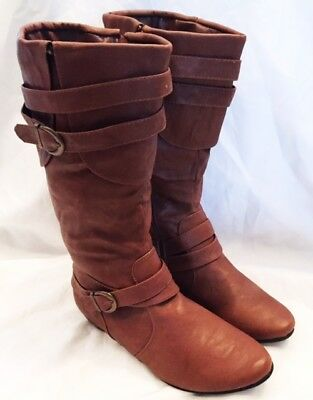 Chase & Chloe Boots Shoes Womens Size 8.5 Mid Calf Boots Shoes Brown Leather Zip