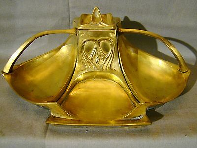 Large Antique Art Nouveau Brass Inkwell Desk Tray & Pen Holder 1890-1910
