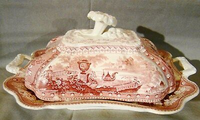 Mayer Red Transfer Canova Pink Transfer Vegetable Tureen 1836