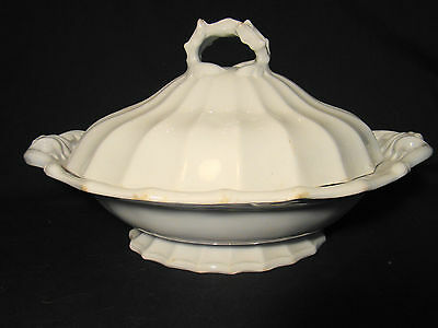 "White Ironstone John Wedgwood Fluted Pearl Tureen 13 1/4"" long c. 1841-1860"