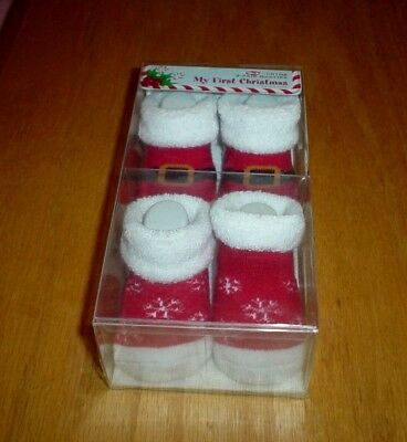 My First Christmas Baby Booties 2 Pack 0-3 Months