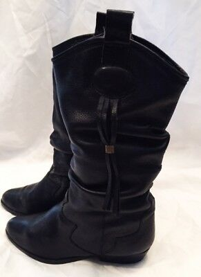 Western Boots Shoes Womens Size 5.5 White Mountain Leather Boots Shoes Black
