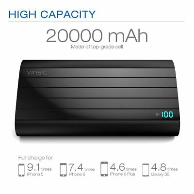 Vinsic 20000mAh 2 USB External Battery Portable Cell Phone Charger Power Bank