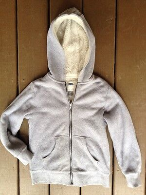 Old Navy Children Sm.-Size 6 -7 Sherpa Lined Gray Thermal Full Zip Hoodie Jacket