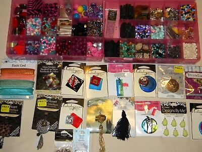 Large Lot Of Beads Assorted Crafts Jewelry Making Some Glass Container Organizer