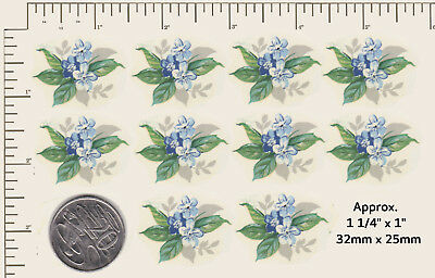 "10 x Waterslide ceramic decals Decoupage Blue flowers Floral  1 1/4"" x 1"" P10"