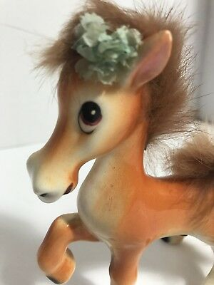 Anthropomorphic Ucagco Ceramic Horse Figurine With Fur Or Feather Mane & Tail